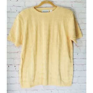 Alfred Dunner Square Pattern Yellow Sweater Large